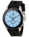 Men's Monte Carlo Chronograph Light Blue Textured Dial Black Silicone Watch
