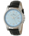 Men's Breithorn Light Blue Textured Dial Black Leather Watch