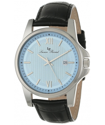 Men's 10048-012 Breithorn Light Blue Textured Dial Black Leather Watch