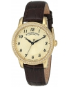Women's 23k Yellow-Gold Watch with Swarovski Crystals and Brown Leather Strap