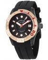 Men's Aquadiver Regatta Manta Ray Swiss Quartz Professional Diver Rose Tone Bezel Rubber Strap Watch