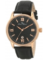 Men's 11576-RG-01 Clariden Black Textured Dial Watch
