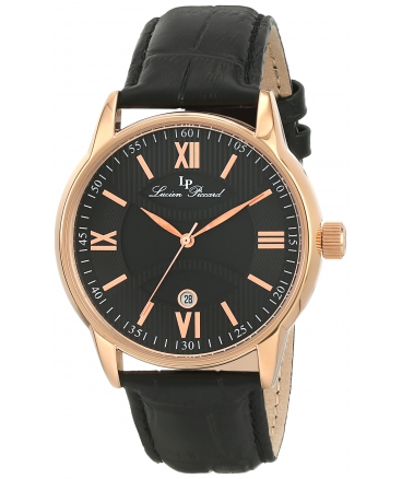 Men's 11576-RG-01 Clariden Black Textured Dial Watch