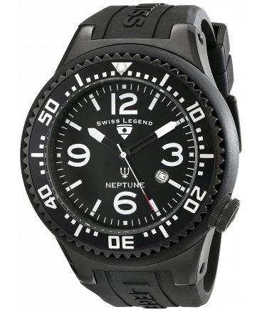 Men's 21818P-BB-01 Neptune Collection Black Textured Rubber Watch