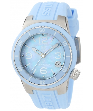 Women's 11840P-012-MOP Neptune Light Blue Mother-Of-Pearl Dial Light Blue Silicone Watch