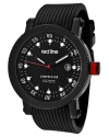 "Men's ""Compressor"" Silver-Tone Watch With Black Silicone Band"