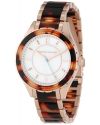 Women's Mother-Of-Pearl Dial Rose Gold Ion-Plated Stainless Steel and Brown Tortoise Resin Watch