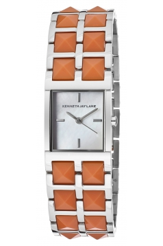 Women's 1500 Series Stainless Steel Watch with Coral-Color Resin Bracelet