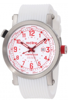 Men's Compressor World Time White Dial White Silicone Watch