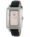 Women's Series Pink Textured Dial Black Leather Watch