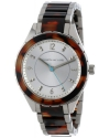 Women's Silver Dial Stainless Steel and Brown Tortoise Resin Watch