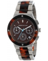 Women's Chronograph Brown Sunray Dial Stainless Steel and Brown Tortoise Resin Watch