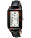 Women's 900 Series Silver Textured Dial Black Leather Watch