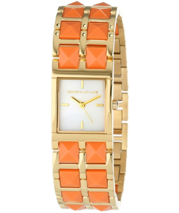 Women's KJLANE-1510 1500 Series Mother-Of-Pearl Dial Gold Ion-Plated Stainless Steel and Coral Resin Watch