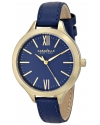 Women's Stainless Steel Watch with Blue Leather Band