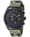 Men's  Black Ion-Plated Stainless Steel Watch with Camo Canvas Band