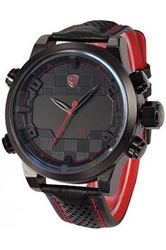 Mens Fashion Digital LED Date Day Alarm Black Leather Quartz Sport Watch Red