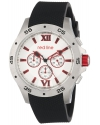 Men's Chronograph Silver Dial Black Textured Silicone Watch