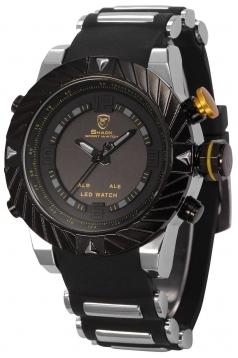 Mens Digital Date Day Alarm Led Black Rubber Waterproof Sport Quartz Wrist Watch
