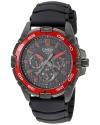 Men's Round Analog Black and Red Dial and Black Resin Strap Watch