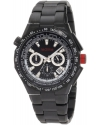 Mens Travel Chronograph Black IP Stainless Steel Black Dial Watch