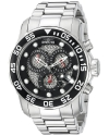 Men's Pro Diver Analog Display Swiss Quartz Silver-Tone Watch
