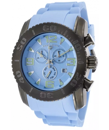 Men's Commander Chrono Light Blue Silicone and Dial Gunmetal IP Steel Case