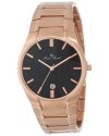Men's Davos Black Dial Rose Gold Ion-Plated Stainless Steel Watch