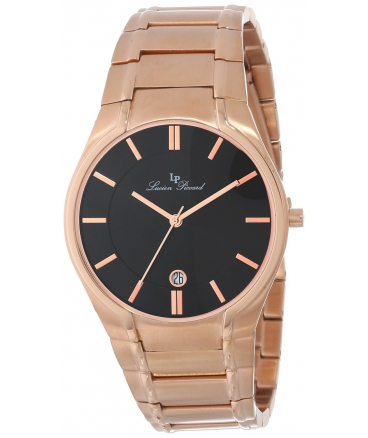 Men's LP-10607-RG-11 Davos Black Dial Rose Gold Ion-Plated Stainless Steel Watch