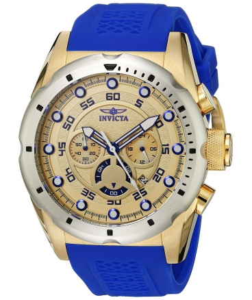 Men's Speedway Stainless Steel Watch With Blue PU Band