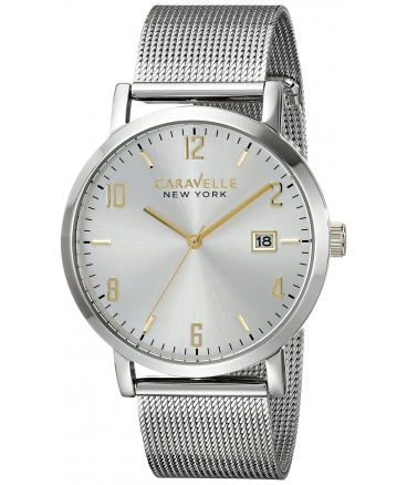 Men's Stainless Steel Watch with Mesh Bracelet