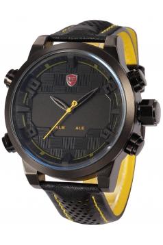 Mens Fashion Digital LED Date Day Alarm Black Leather Quartz Sport Watch  Yellow