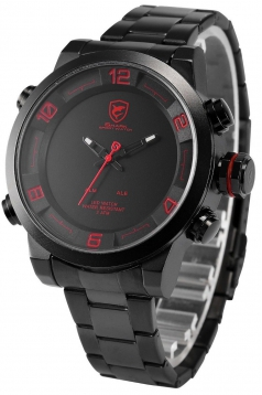 Mens Analog LED Display Alarm Date Day Display Stainless Steel Quartz Watch