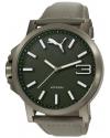 Mens Motorsport Green Grey Ultrasize 3HD Leather Watch