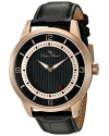 Men's Grotto Quartz Stainless Steel And Black Leather Casual Watch