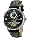 Men's Babylon Automatic Stainless Steel And Black Leather Casual Watch