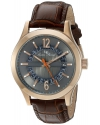 Men's Oxford Quartz Stainless Steel And Brown Leather Casual Watch