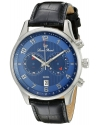 Men's Navona Stainless Steel Watch With Black Leather Band