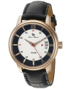 Men's 'Amici' Quartz Stainless Steel And Black Leather Casual Watch