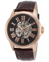 Men's 'Calypso' Stainless Steel And Leather Automatic Watch Color Brown