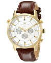 Men's Gold Tone Watch With Brown Leather Band