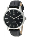 Men's Stainless Steel Watch With Black Genuine Leather Band