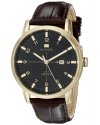 Men's Gold Tone Watch With Brown Leather Strap