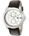 Men's Stainless Steel Watch With Brown Leather Band