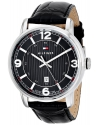 Men's Black Dial Watch With Black Leather Band