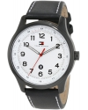 Men's Classic Black IP Case And Blk Leather Strap Watch