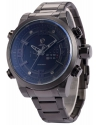 Mens Quartz Analog Lcd Date Day Black Stainless Steel Band Wrist Watch