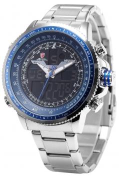 Men's Winghead Digital/Analog Quartz Day/Date/Alarm Stainless Steel Wrist Watch