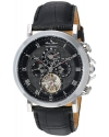 Men's Acropolis Stainless Steel And Leather Automatic Watch Color Black