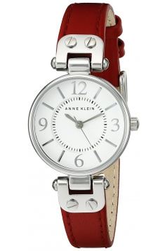 Women's Silver Tone White Dial And Red Leather Strap Watch